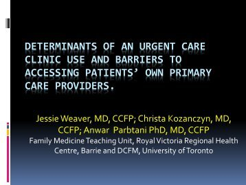 determinants of an urgent care clinic use and barriers to accessing ...