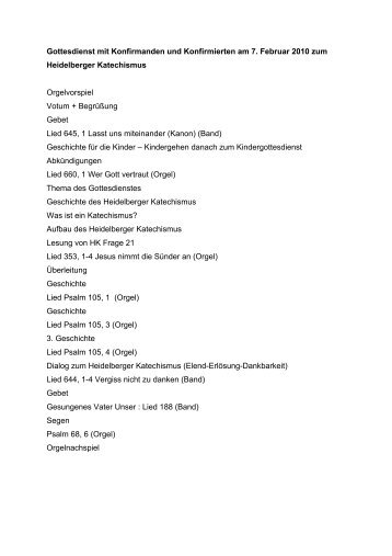 Gottesdienstablauf - Heidelberger Katechismus