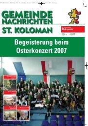 Gemeindezeitung Frühjahr 2007 - St. Koloman