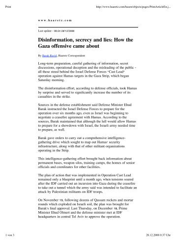 Disinformation, secrecy and lies: How the Gaza offensive came about