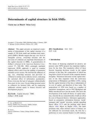 Determinants of capital structure in Irish SMEs - IngentaConnect