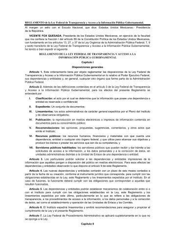 REGLAMENTO de la Ley Federal de Transparencia y Acceso a la ...