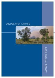 GOLDSEARCH LIMITED 2003 ANNUAL REPORT