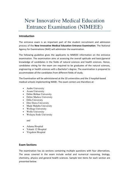 Top 12 Ethiopian University Entrance Exam 2010 Pdf