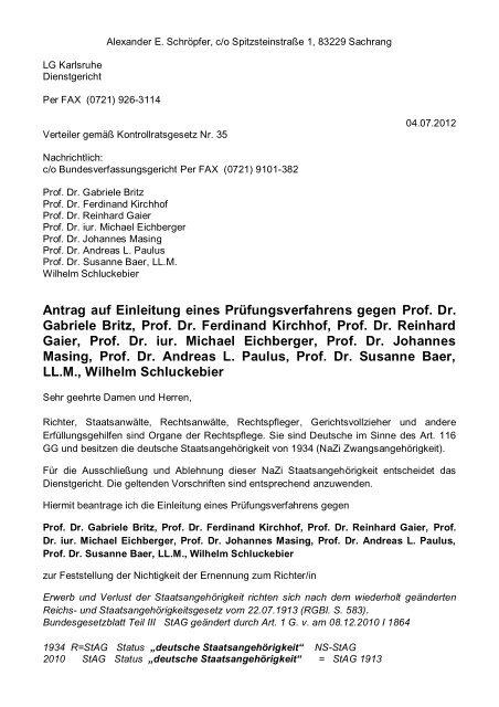 Formbrief Dienstgericht Bundesverfassungsgericht 1 Senat Fax