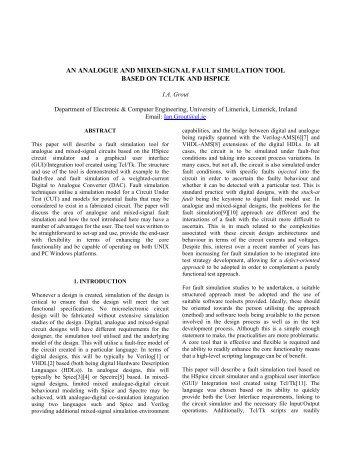 an analogue and mixed-signal fault simulation tool ... - Iberchip.net