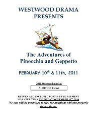 Pinocchio audition Packet