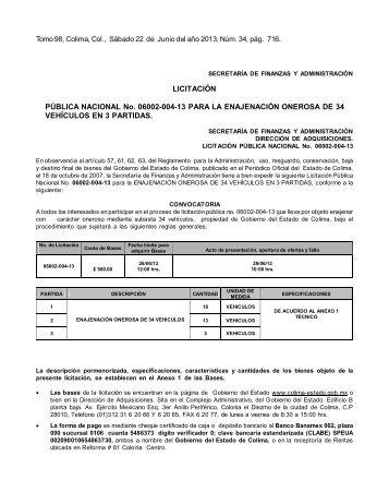 LICITACIÓN PÚBLICA NACIONAL No. 06002-004-13 PARA LA ...
