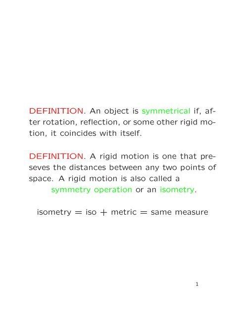 Symmetry Groups