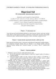 Rigorózní řád - Evangelická teologická fakulta - Univerzita Karlova