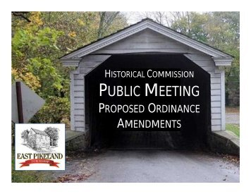 PUBLIC MEETING - East Pikeland Township