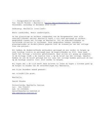 Brief d.d. 12 december 2012 - Gemeente Nijmegen