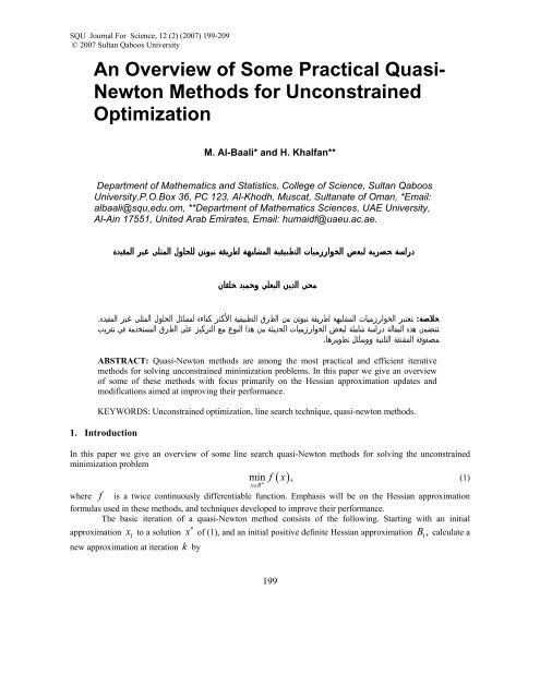 An Overview of Some Practical Quasi- Newton Methods for