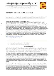 E+E Newsletter 01/2013 - Einzigartig-eigenartig e.V.
