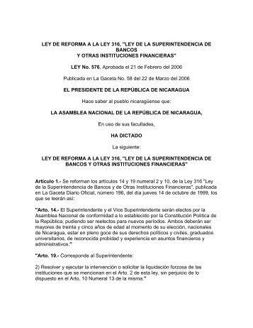 """LEY DE REFORMA A LA LEY 316, """"LEY DE LA ..."""