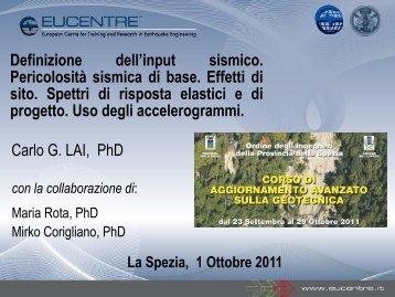 Definizione dell'input sismico - Scuola di Scienze Ambientali