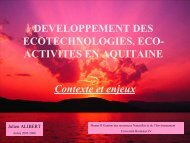 ACTIVITES EN AQUITAINE Contexte et enjeux