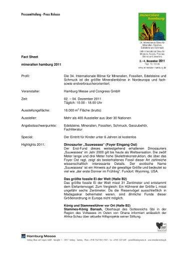 Fact Sheet mineralien hamburg 2011 Profil: Die 34. Internationale ...