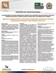 DIFUSIÓN DE CONVOCATORIAS - Secretaría de Educación y Cultura