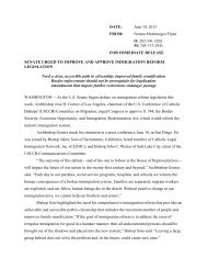 Press Release on Senate Immigration Bill Debate - United States ...