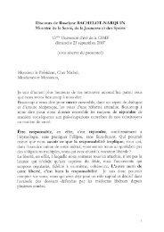 le discours de Mme Roselyne BACHELOT-NARQUIN, Ministre - CSMF