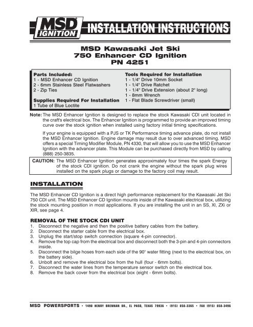 MSD Kawasaki Jet Ski 750 Enhancer CD Ignition PN 4251