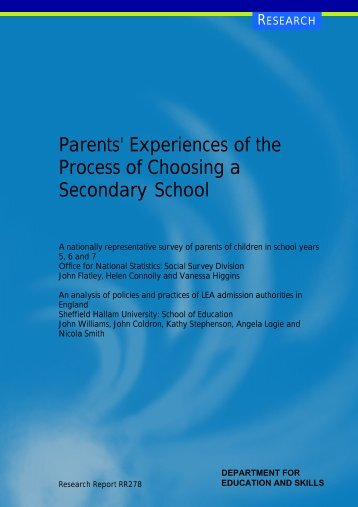 Parents' Experiences of the Process of Choosing a Secondary School