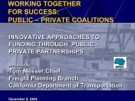 Public Private Partnerships - Faster Freight - Cleaner Air