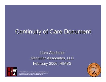 Continuity of Care Document - HL7
