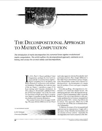 The decompositional approach to matrix computation ... - IEEE Xplore