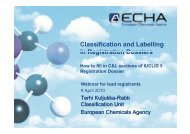 Classification and Labelling in Registration Dossiers How to ... - CLP