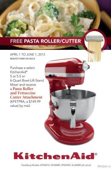 Kitchenaid Pasta Roller And Cutter Attachment Set Model Kpra