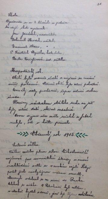 Kronika obce rok 1915–1917