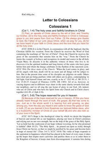 Letter to Colossians Colossians 1