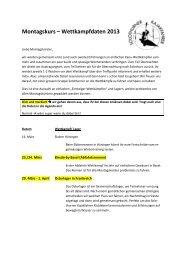 Montagskurs – Wettkampfdaten 2013 - Solothurner Kajakfahrer