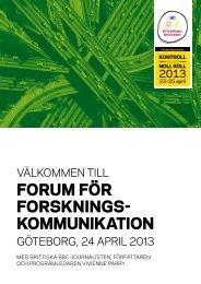 Forum För Forsknings kommunikation - Stiftelsen för Strategisk ...