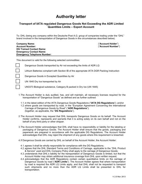Approval Authority Letter For Dry Ice EXPORT