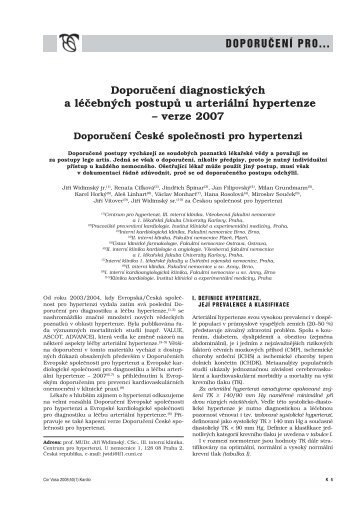 Doporučení diagnostických a léčebných postupů u arteriální ...