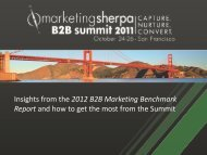 Insights from the 2012 B2B Marketing Benchmark Report ... - meclabs