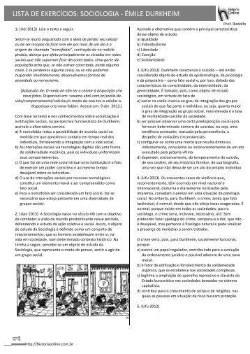 LISTA DE EXERCÍCIOS: SOCIOLOGIA -‐ ÉMILE DURKHEIM