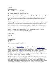 Fat Tax Judith Bell, Oakland (New York Times, August 26, 2009) Re ...