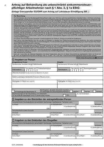 Antrag auf Behandlung als unbeschränkt einkommensteuer ...
