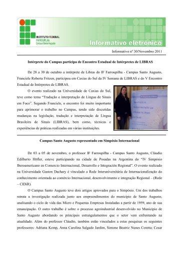 Boletim Informativo - Novembro/2011 - Instituto Federal Farroupilha