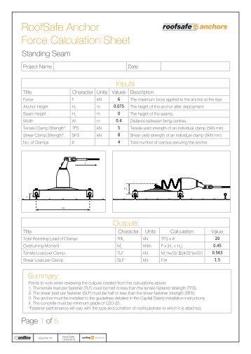 RoofSafe Anchor Force Calculation Sheet - Vandernet