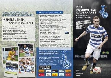 rückrunden dauerkarte - MSV Duisburg