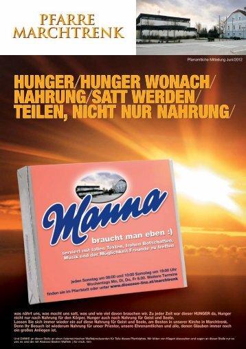 HUNGER/HUNGER WONACH NAHRUNG ... - Pfarre Marchtrenk