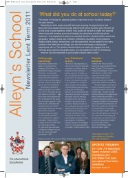 Newsletter Lent Term 2011 - Alleyn's School