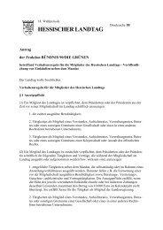 Verhaltensregeln für die Mitglieder des Hessischen Landtags