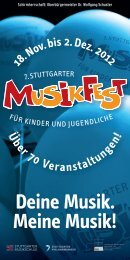 Herzlich willkommen Deine Musik. Meine Musik! - Stuttgarter Musikfest