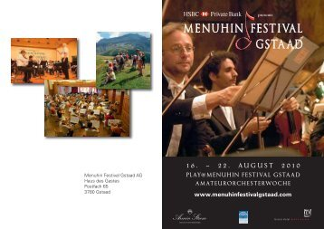 16. – 22. august 2010 play - Menuhin Festival Gstaad